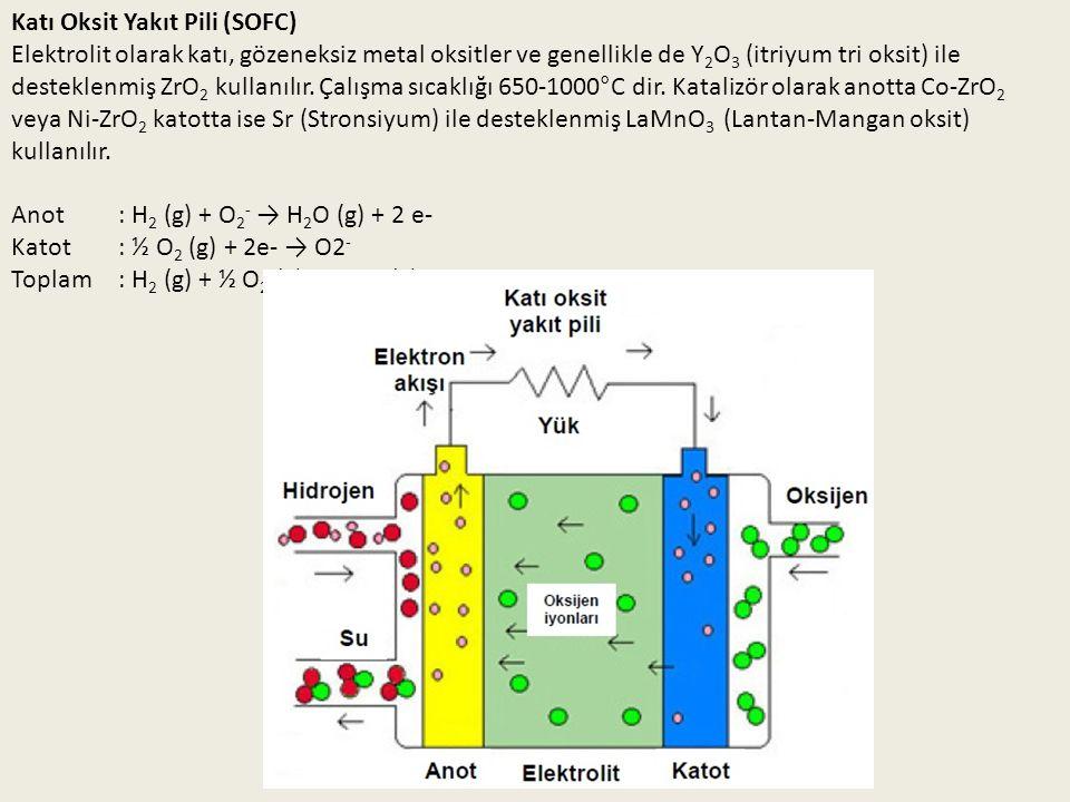 Katı Oksit Yakıt Pili (SOFC) Elektrolit olarak katı, gözeneksiz metal oksitler ve genellikle de Y 2 O 3 (itriyum tri oksit) ile desteklenmiş ZrO 2 kul