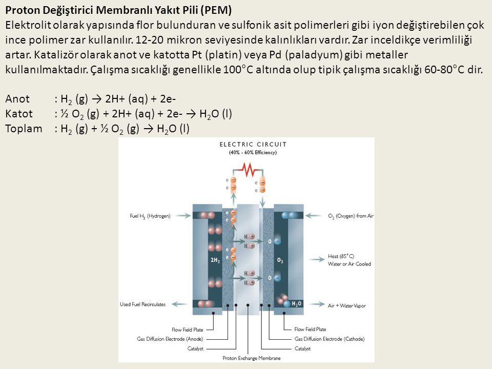 Proton Değiştirici Membranlı Yakıt Pili (PEM) Elektrolit olarak yapısında flor bulunduran ve sulfonik asit polimerleri gibi iyon değiştirebilen çok in