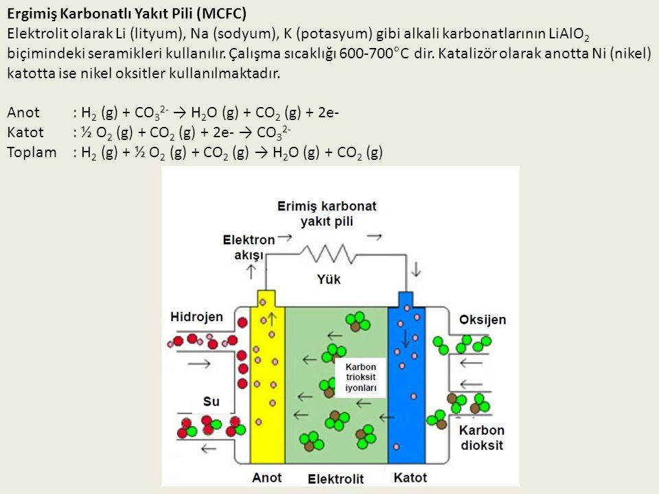 Ergimiş Karbonatlı Yakıt Pili (MCFC) Elektrolit olarak Li (lityum), Na (sodyum), K (potasyum) gibi alkali karbonatlarının LiAlO 2 biçimindeki seramikl