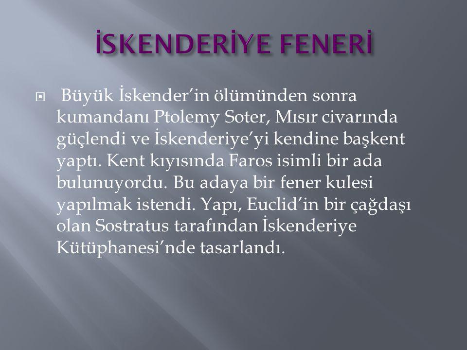  Büyük İskender'in ölümünden sonra kumandanı Ptolemy Soter, Mısır civarında güçlendi ve İskenderiye'yi kendine başkent yaptı. Kent kıyısında Faros is