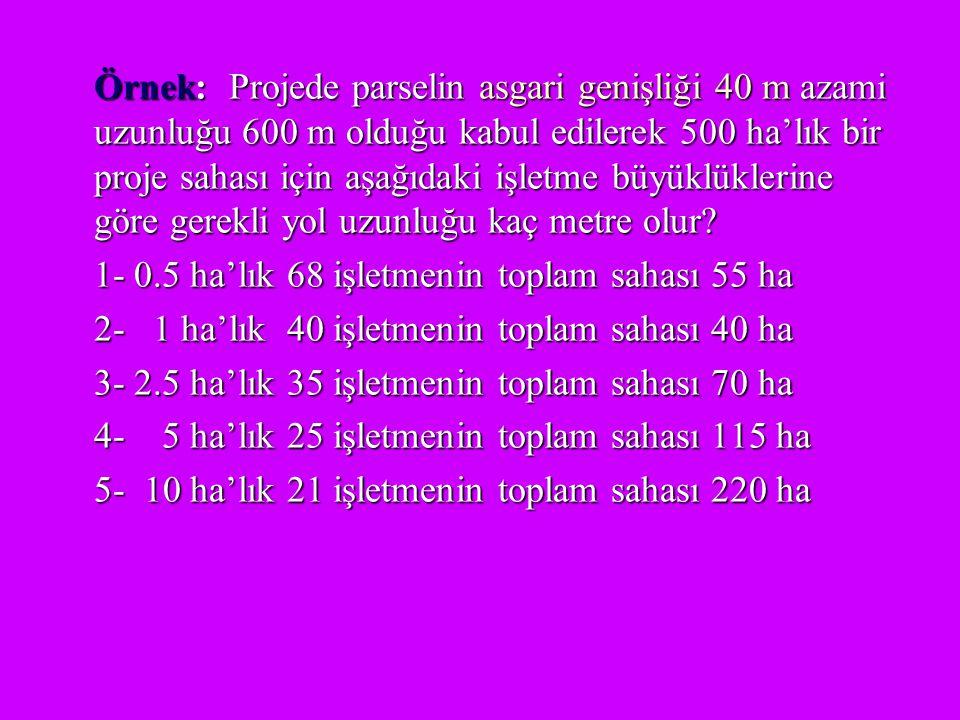 Örnek: Projede parselin asgari genişliği 40 m azami uzunluğu 600 m olduğu kabul edilerek 500 ha'lık bir proje sahası için aşağıdaki işletme büyüklükle