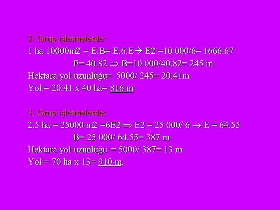 2. Grup işletmelerde: 1 ha 10000m2 = E.B= E.6.E  E2 =10 000/6= 1666.67 E= 40.82  B=10 000/40.82= 245 m Hektara yol uzunluğu= 5000/ 245= 20.41m Yol =