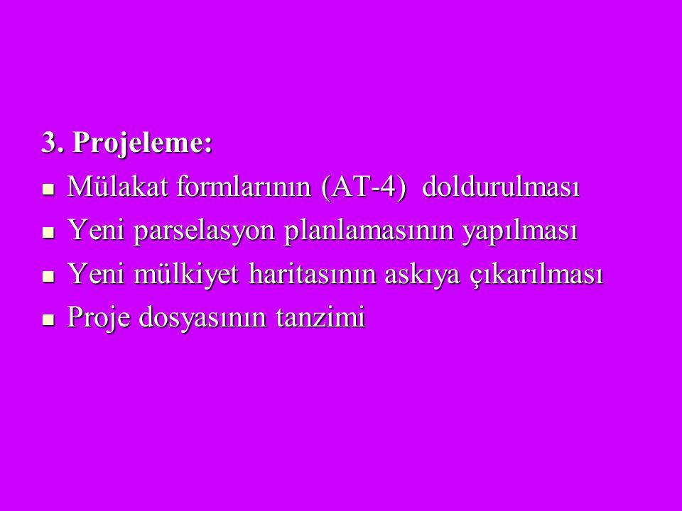 3. Projeleme: Mülakat formlarının (AT-4) doldurulması Mülakat formlarının (AT-4) doldurulması Yeni parselasyon planlamasının yapılması Yeni parselasyo