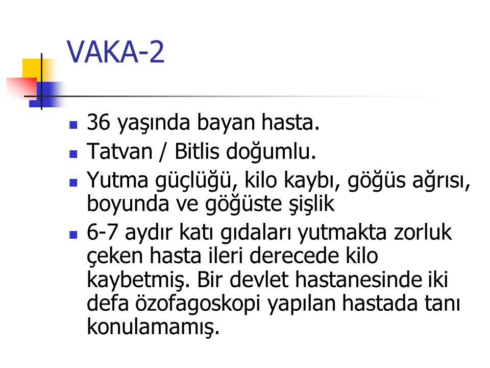 VAKA-2 36 yaşında bayan hasta.Tatvan / Bitlis doğumlu.