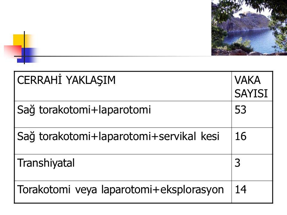 CERRAHİ YAKLAŞIMVAKA SAYISI Sağ torakotomi+laparotomi53 Sağ torakotomi+laparotomi+servikal kesi16 Transhiyatal3 Torakotomi veya laparotomi+eksplorasyon14
