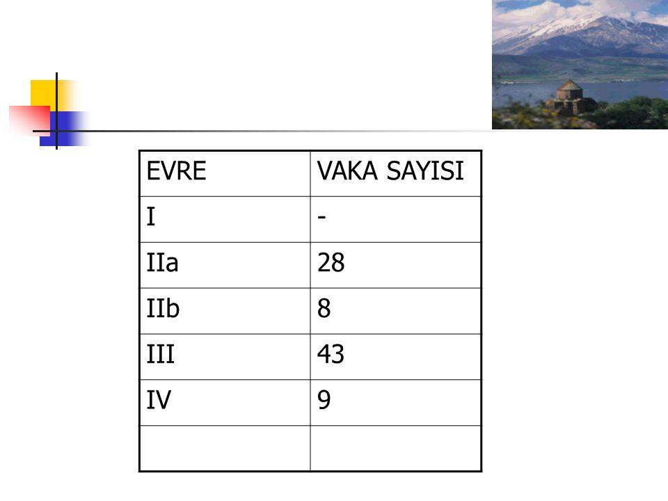 EVREVAKA SAYISI I- IIa28 IIb8 III43 IV9