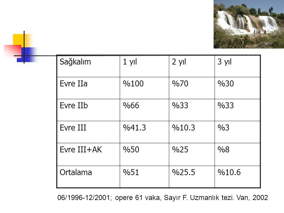 Sağkalım1 yıl2 yıl3 yıl Evre IIa%100%70%30 Evre IIb%66%33 Evre III%41.3%10.3%3 Evre III+AK%50%25%8 Ortalama%51%25.5%10.6 06/1996-12/2001; opere 61 vaka, Sayır F.