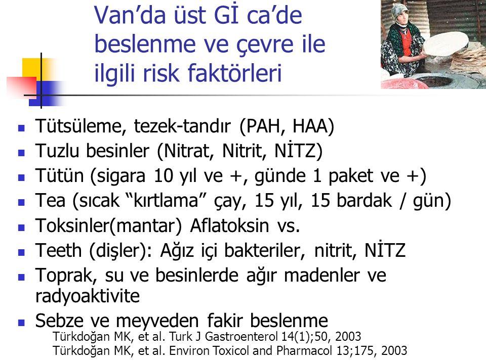 Van'da üst Gİ ca'de beslenme ve çevre ile ilgili risk faktörleri Tütsüleme, tezek-tandır (PAH, HAA) Tuzlu besinler (Nitrat, Nitrit, NİTZ) Tütün (sigara 10 yıl ve +, günde 1 paket ve +) Tea (sıcak kırtlama çay, 15 yıl, 15 bardak / gün) Toksinler(mantar) Aflatoksin vs.