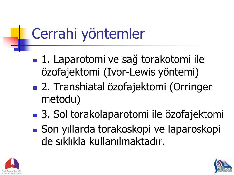 Cerrahi yöntemler 1.Laparotomi ve sağ torakotomi ile özofajektomi (Ivor-Lewis yöntemi) 2.