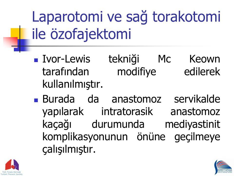Laparotomi ve sağ torakotomi ile özofajektomi Ivor-Lewis tekniği Mc Keown tarafından modifiye edilerek kullanılmıştır.
