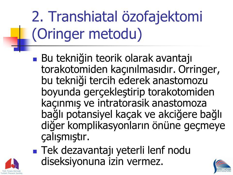 2. Transhiatal özofajektomi (Oringer metodu) Bu tekniğin teorik olarak avantajı torakotomiden kaçınılmasıdır. Orringer, bu tekniği tercih ederek anast