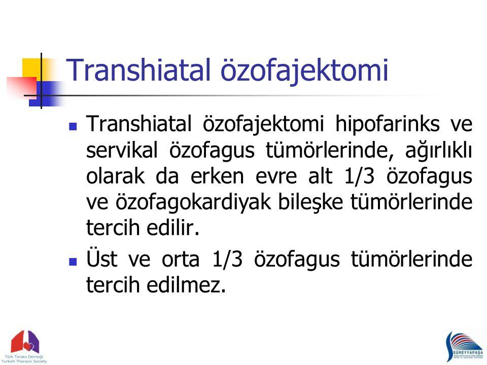 Transhiatal özofajektomi Transhiatal özofajektomi hipofarinks ve servikal özofagus tümörlerinde, ağırlıklı olarak da erken evre alt 1/3 özofagus ve özofagokardiyak bileşke tümörlerinde tercih edilir.