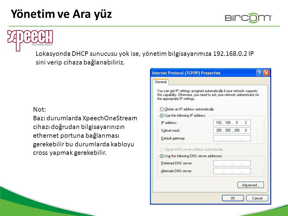 Yönetim ve Ara yüz Lokasyonda DHCP sunucusu yok ise, yönetim bilgisayarımıza 192.168.0.2 IP sini verip cihaza bağlanabiliriz. Not: Bazı durumlarda Xpe