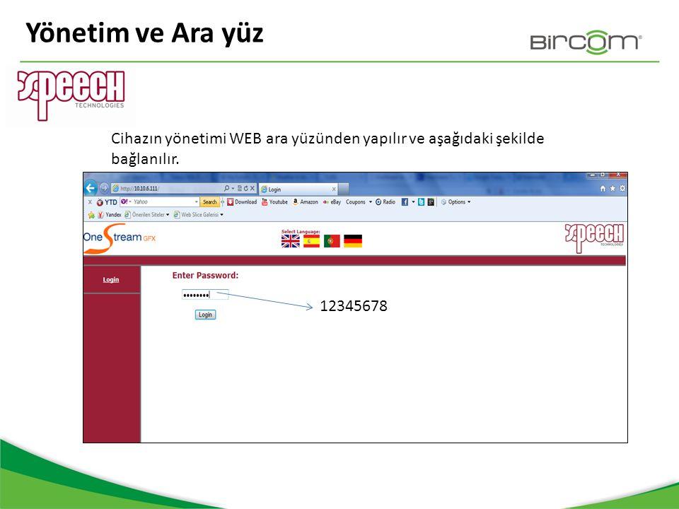 Yönetim ve Ara yüz Cihazın yönetimi WEB ara yüzünden yapılır ve aşağıdaki şekilde bağlanılır. 12345678