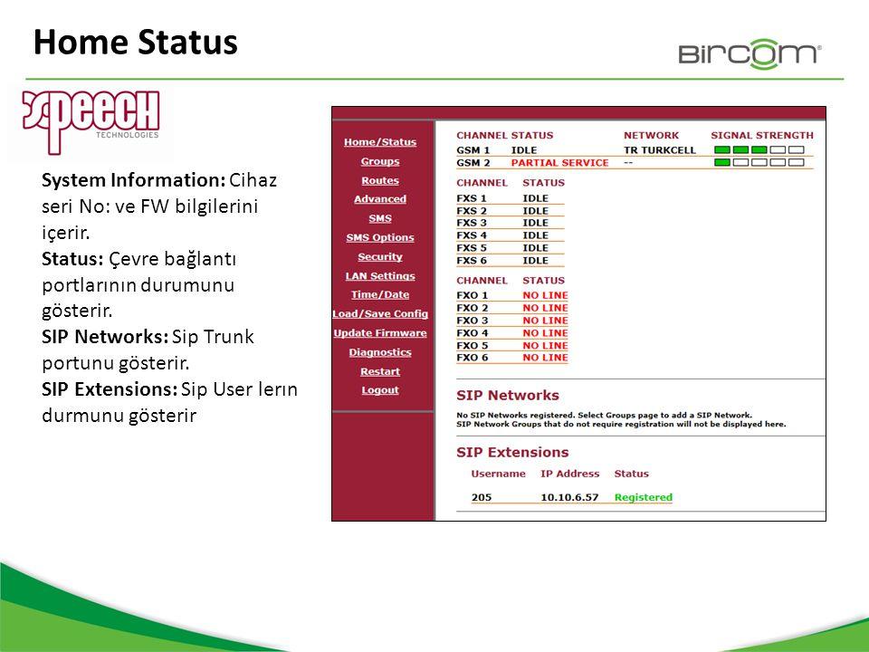 Home Status System Information: Cihaz seri No: ve FW bilgilerini içerir. Status: Çevre bağlantı portlarının durumunu gösterir. SIP Networks: Sip Trunk
