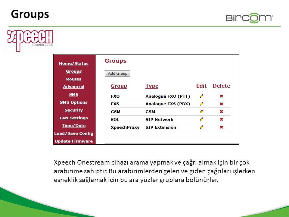 Groups Xpeech Onestream cihazı arama yapmak ve çağrı almak için bir çok arabirime sahiptir. Bu arabirimlerden gelen ve giden çağrıları işlerken esnekl