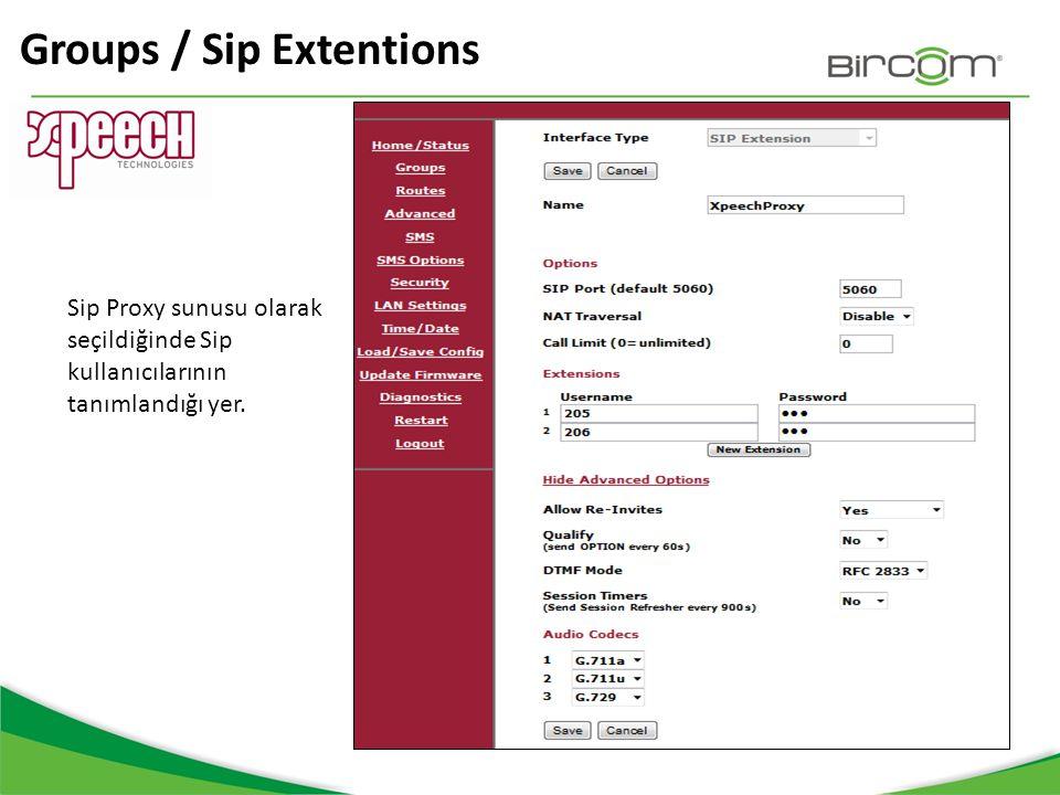 Groups / Sip Extentions Sip Proxy sunusu olarak seçildiğinde Sip kullanıcılarının tanımlandığı yer.