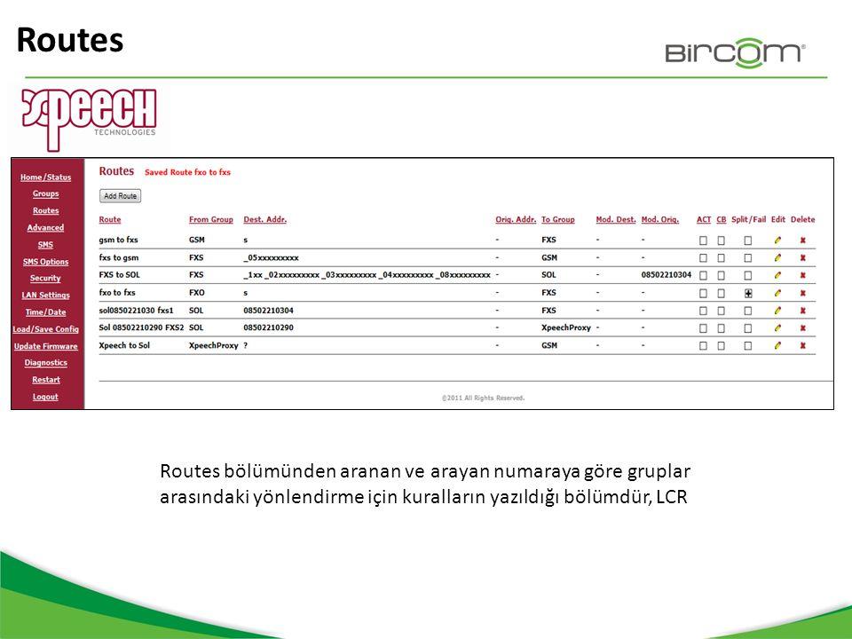 Routes Routes bölümünden aranan ve arayan numaraya göre gruplar arasındaki yönlendirme için kuralların yazıldığı bölümdür, LCR