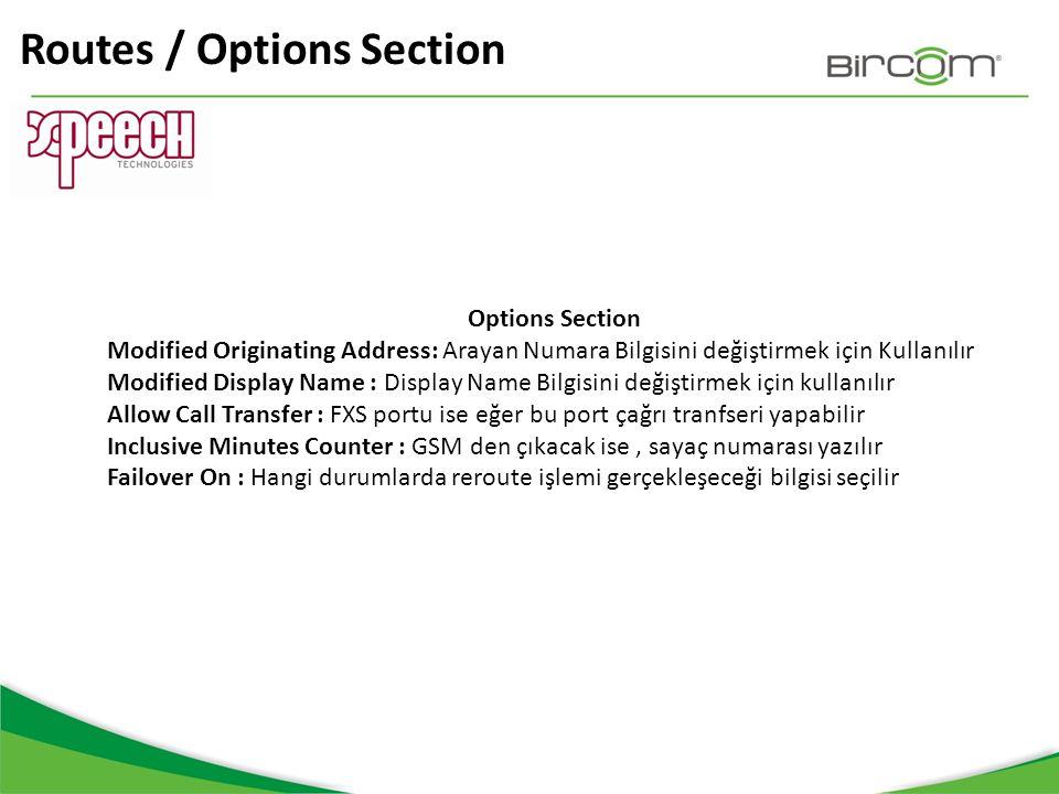 Routes / Options Section Options Section Modified Originating Address: Arayan Numara Bilgisini değiştirmek için Kullanılır Modified Display Name : Dis