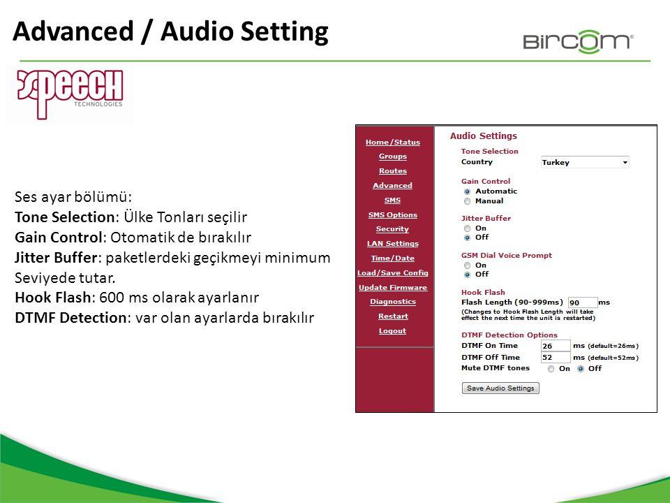 Advanced / Audio Setting Ses ayar bölümü: Tone Selection: Ülke Tonları seçilir Gain Control: Otomatik de bırakılır Jitter Buffer: paketlerdeki geçikme