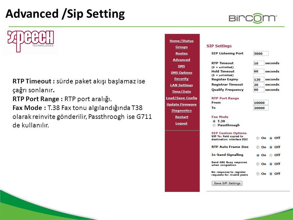 Advanced /Sip Setting RTP Timeout : sürde paket akışı başlamaz ise çağrı sonlanır. RTP Port Range : RTP port aralığı. Fax Mode : T.38 Fax tonu algılan