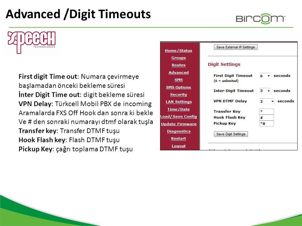 Advanced /Digit Timeouts First digit Time out: Numara çevirmeye başlamadan önceki bekleme süresi İnter Digit Time out: digit bekleme süresi VPN Delay: