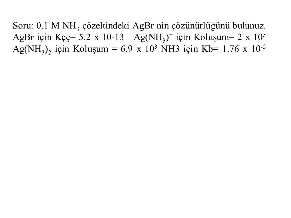 Soru: 0.1 M NH 3 çözeltindeki AgBr nin çözünürlüğünü bulunuz. AgBr için Kçç= 5.2 x 10-13 Ag(NH 3 ) + için Koluşum= 2 x 10 3 Ag(NH 3 ) 2 için Koluşum =