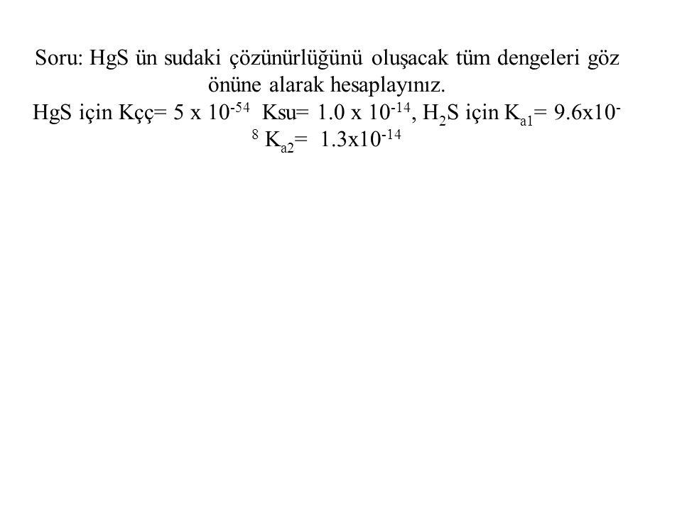 Soru: HgS ün sudaki çözünürlüğünü oluşacak tüm dengeleri göz önüne alarak hesaplayınız. HgS için Kçç= 5 x 10 -54 Ksu= 1.0 x 10 -14, H 2 S için K a1 =