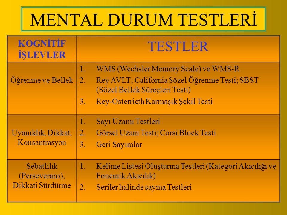 MENTAL DURUM TESTLERİ KOGNİTİF İŞLEVLER TESTLER Öğrenme ve Bellek 1.WMS (Wechsler Memory Scale) ve WMS-R 2.Rey AVLT; California Sözel Öğrenme Testi; S