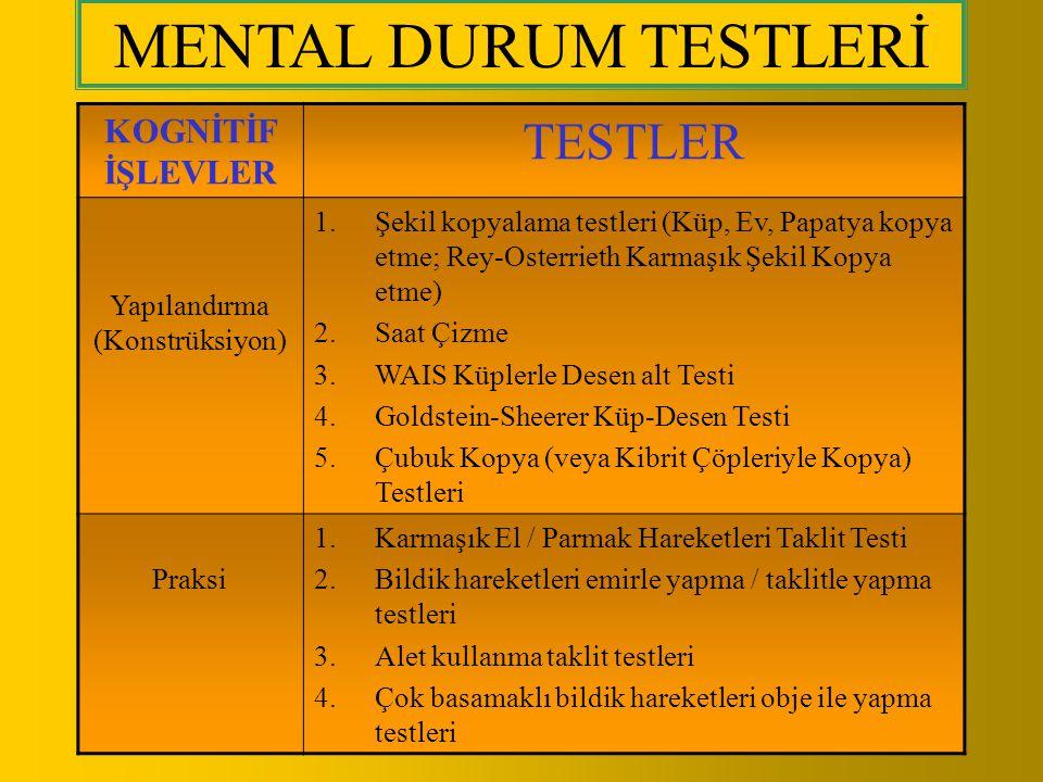 KOGNİTİF İŞLEVLER TESTLER Yapılandırma (Konstrüksiyon) 1.Şekil kopyalama testleri (Küp, Ev, Papatya kopya etme; Rey-Osterrieth Karmaşık Şekil Kopya et
