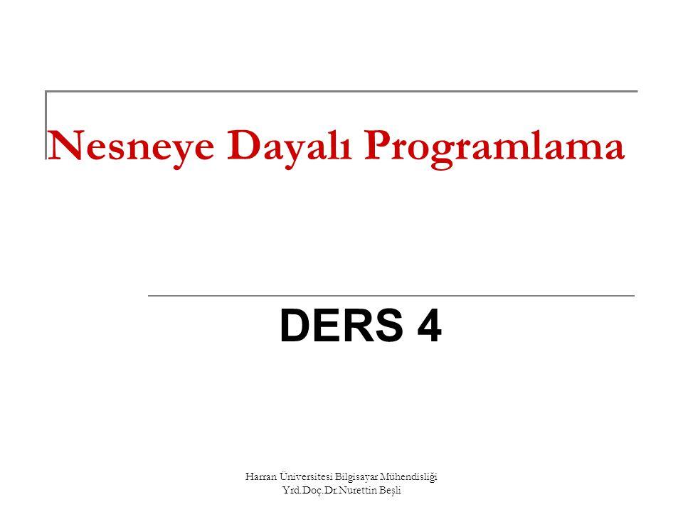 Harran Üniversitesi Bilgisayar Mühendisliği Yrd.Doç.Dr.Nurettin Beşli Operatörlere Yeni İşlevler Yüklenmesi ( Operator Overloading) C++'da hazır olarak var olan operatörlere (+, -, *, /, !, <<, ++ vs.) ilişkin fonksiyonlar yazarak bu operatörlerin sizin belirlediğiniz işlemleri yapmasını sağlayabilirsiniz.