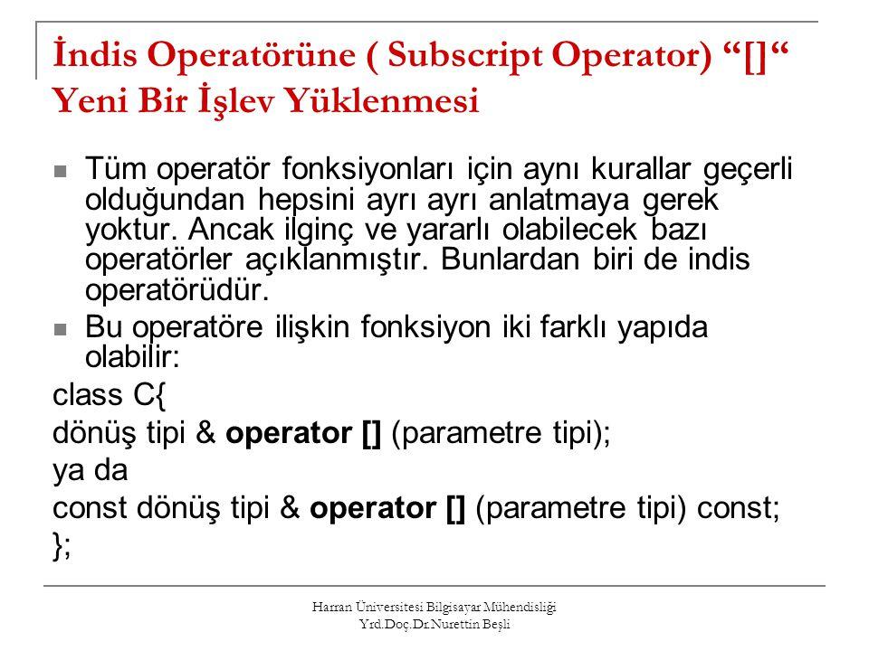 """Harran Üniversitesi Bilgisayar Mühendisliği Yrd.Doç.Dr.Nurettin Beşli İndis Operatörüne ( Subscript Operator) """"[]"""" Yeni Bir İşlev Yüklenmesi Tüm opera"""