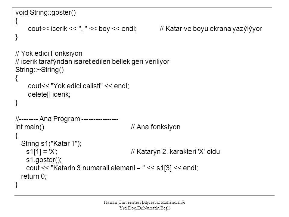 Harran Üniversitesi Bilgisayar Mühendisliği Yrd.Doç.Dr.Nurettin Beşli void String::goster() { cout<< icerik <<