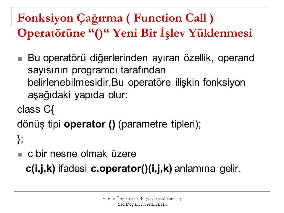 """Harran Üniversitesi Bilgisayar Mühendisliği Yrd.Doç.Dr.Nurettin Beşli Fonksiyon Çağırma ( Function Call ) Operatörüne """"()"""" Yeni Bir İşlev Yüklenmesi B"""