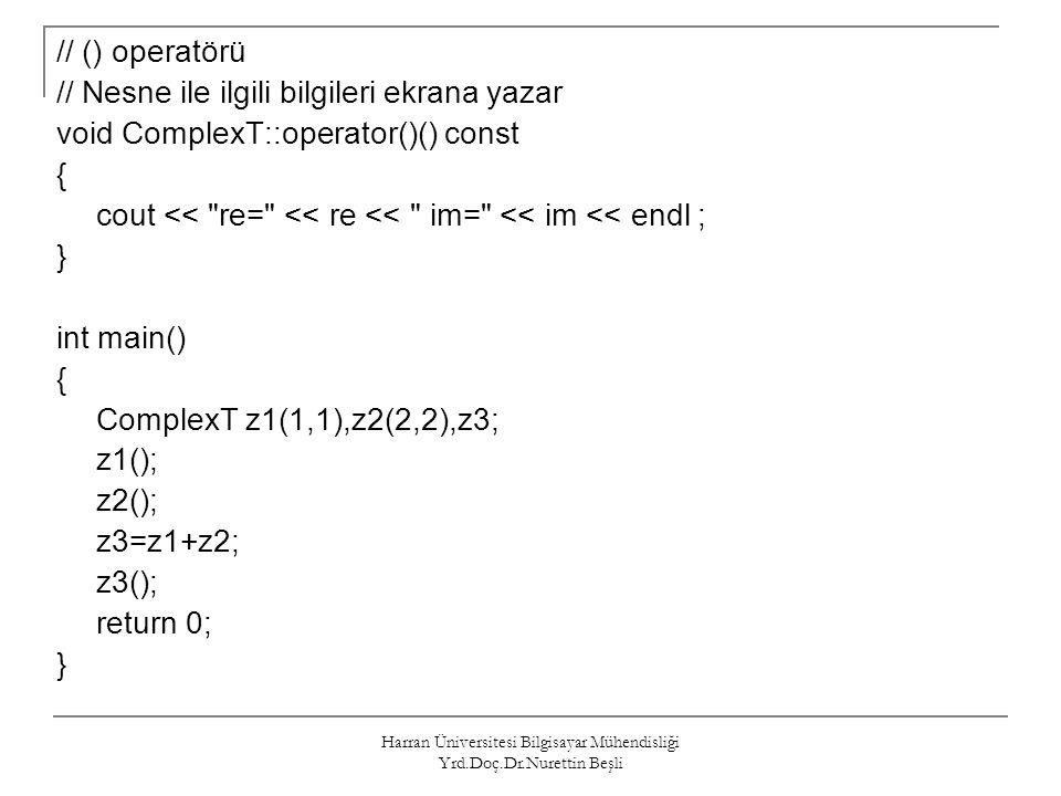 Harran Üniversitesi Bilgisayar Mühendisliği Yrd.Doç.Dr.Nurettin Beşli // () operatörü // Nesne ile ilgili bilgileri ekrana yazar void ComplexT::operat