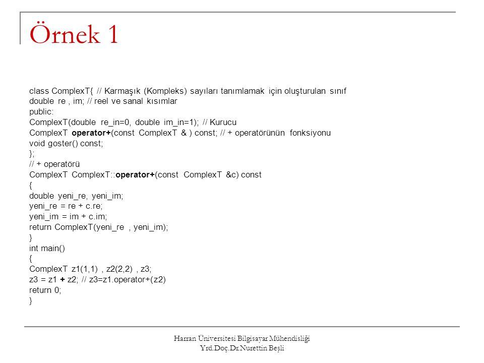 Harran Üniversitesi Bilgisayar Mühendisliği Yrd.Doç.Dr.Nurettin Beşli Atama Operatörüne = Yeni Bir İşlev Yüklenmesi Atama işlemi programlarda çok sık kullanıldığından C++ derleyicisi her sınıfa atama operatörü için bir fonksiyon yerleştirir.