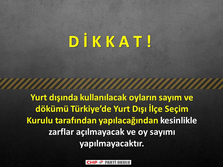 52 D İ K K A T ! D İ K K A T ! Yurt dışında kullanılacak oyların sayım ve dökümü Türkiye'de Yurt Dışı İlçe Seçim Kurulu tarafından yapılacağından kesi