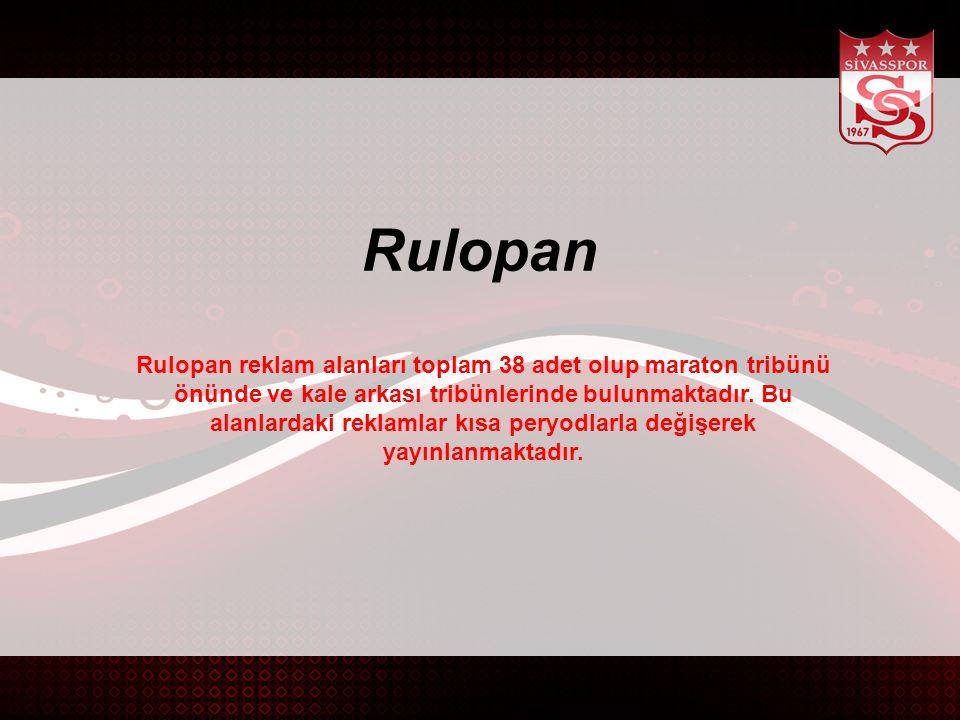 Rulopan reklam alanları toplam 38 adet olup maraton tribünü önünde ve kale arkası tribünlerinde bulunmaktadır.