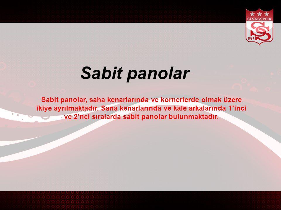 Sabit panolar Sabit panolar, saha kenarlarında ve kornerlerde olmak üzere ikiye ayrılmaktadır.
