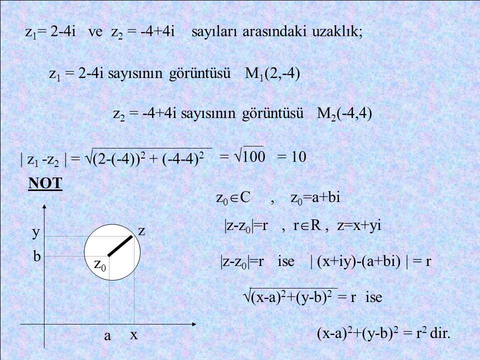 KARMAŞIK DÜZLEMDE İKİ NOKTA ARASINDAKİ UZAKLIK Karmaşık düzlemde iki nokta arasındaki uzaklık; x1x1 x2x2 y2y2 y1y1 A z 1 =x 1 +y 1 i B z 2 =x 2 +y 2 i