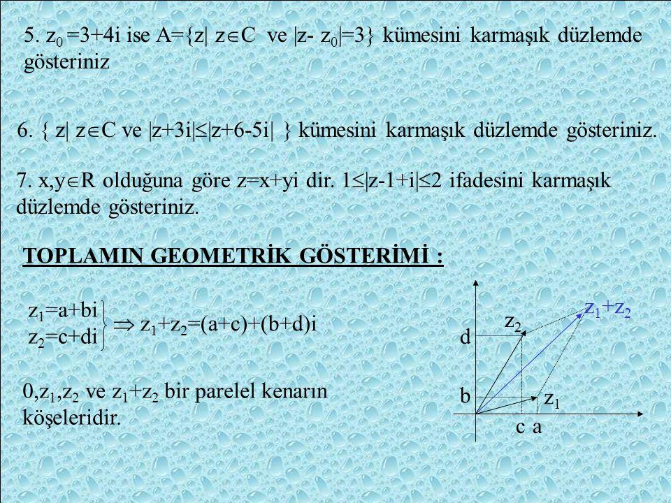 1. | z-z 0 | = | z-(a+bi)| = r denklemi analitik düzlemde merkezi M(a,b) ve yarıçapı r-olan çember denklemidir. 2.| z-z 0 | = | z-(a+bi)| < r ifadesi