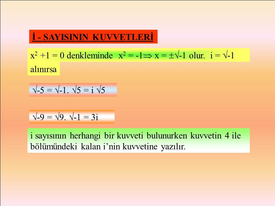 TANIM: x 2 +1 = 0 denkleminin gerçel sayılar kümesinde çözümü olmadığını biliyoruz.(  <0) x 2 +1 = 0 denkleminin çözülebildiği ve gerçel sayılar küme