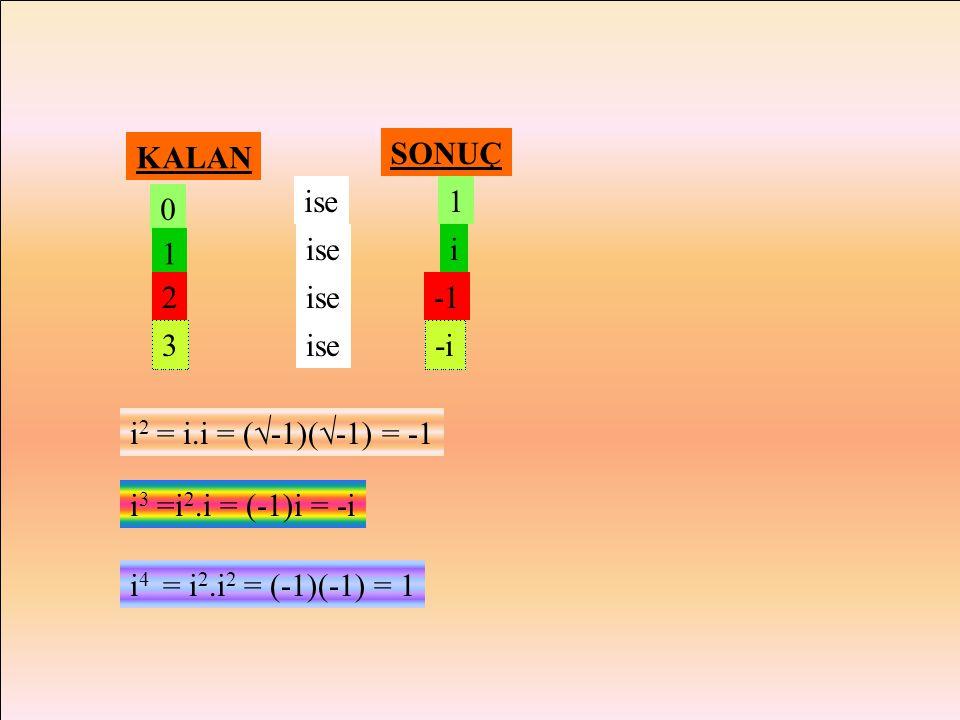 İ - SAYISININ KUVVETLERİ  -5 =  -1.  5 = i 55  -9 =  9.  -1 = 3i x2 x2 +1 = 0 denkleminde x2 x2 = -1  x =  -1 olur. i =  -1 i sayısının he