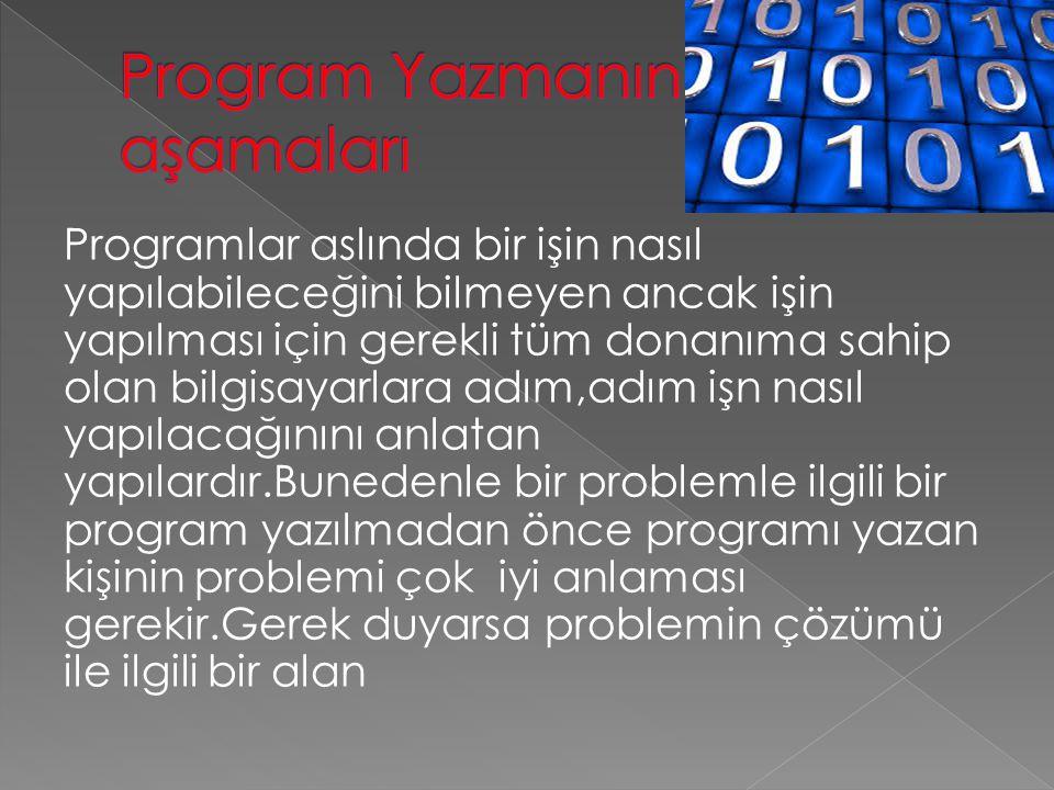 Programlar aslında bir işin nasıl yapılabileceğini bilmeyen ancak işin yapılması için gerekli tüm donanıma sahip olan bilgisayarlara adım,adım işn nasıl yapılacağınını anlatan yapılardır.Bunedenle bir problemle ilgili bir program yazılmadan önce programı yazan kişinin problemi çok iyi anlaması gerekir.Gerek duyarsa problemin çözümü ile ilgili bir alan
