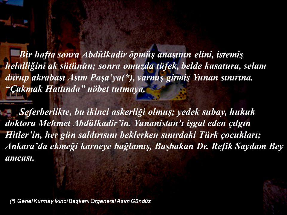 Bir hafta sonra Abdülkadir öpmüş anasının elini, istemiş helalliğini ak sütünün; sonra omuzda tüfek, belde kasatura, selam durup akrabası Asım Paşa'ya(*), varmış gitmiş Yunan sınırına.