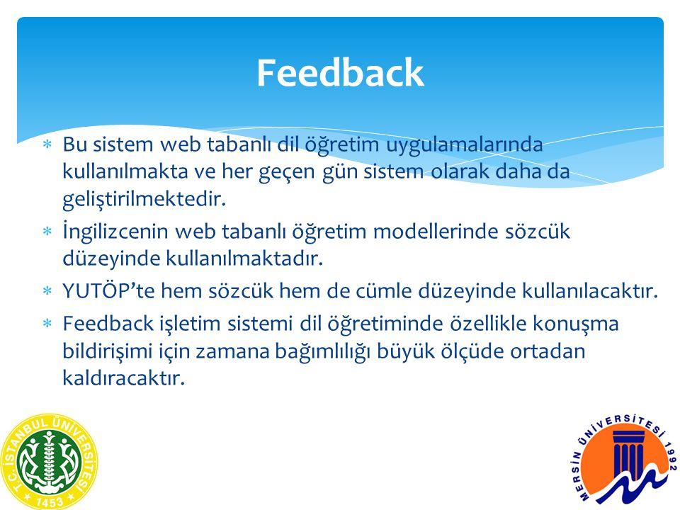  Bu sistem web tabanlı dil öğretim uygulamalarında kullanılmakta ve her geçen gün sistem olarak daha da geliştirilmektedir.  İngilizcenin web tabanl
