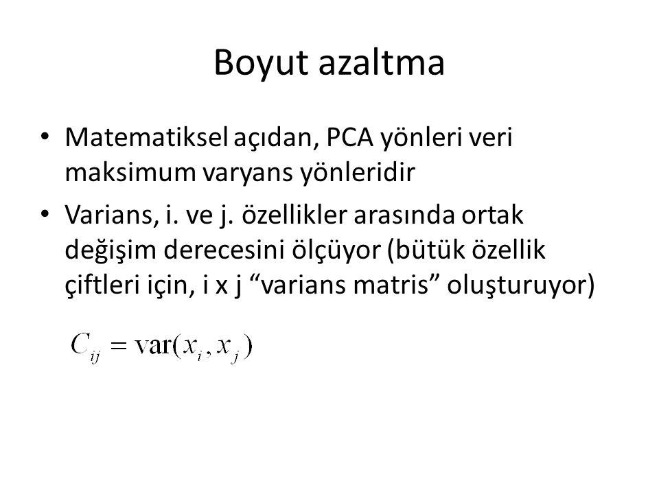 Boyut azaltma Matematiksel açıdan, PCA yönleri veri maksimum varyans yönleridir Varians, i.