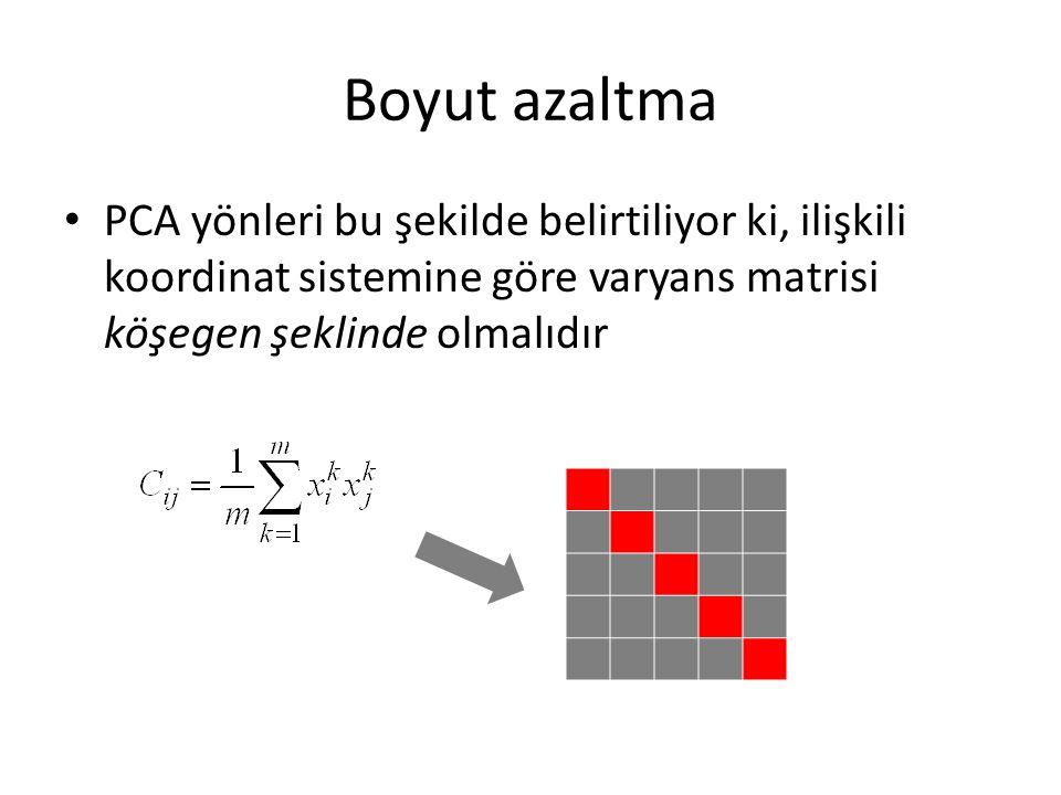 Boyut azaltma PCA yönleri bu şekilde belirtiliyor ki, ilişkili koordinat sistemine göre varyans matrisi köşegen şeklinde olmalıdır