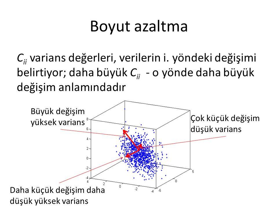 Boyut azaltma C ii varians değerleri, verilerin i. yöndeki değişimi belirtiyor; daha büyük C ii - o yönde daha büyük değişim anlamındadır Büyük değişi