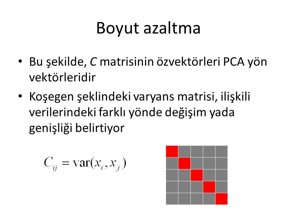 Boyut azaltma Bu şekilde, C matrisinin özvektörleri PCA yön vektörleridir Koşegen şeklindeki varyans matrisi, ilişkili verilerindeki farklı yönde değişim yada genişliği belirtiyor